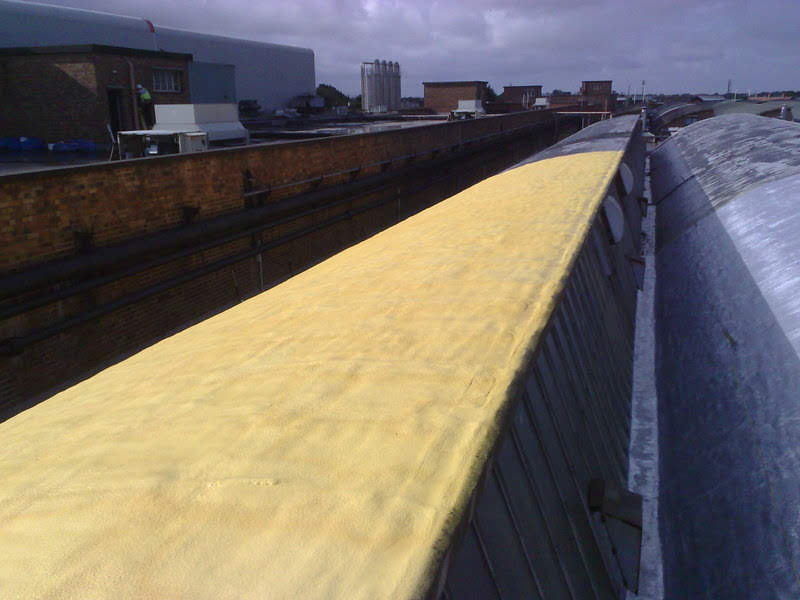 An unusual shaped roof during the foam and coating process.